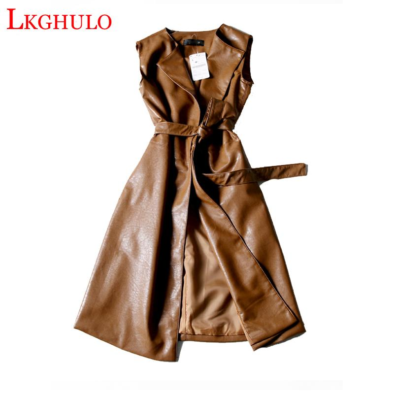 Coffee Black Green Long Leather Vest PU Women Soft Vest Ladies Leather Turn-down Collar Colete female With Belt W449