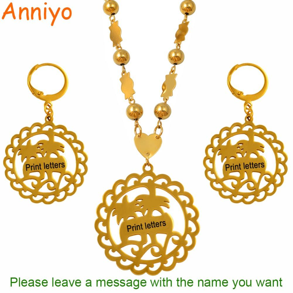 wholesale Customize Print Letters Pendant Necklaces Earrings sets for Women Gold Color Personalized Name Marshall Jewelry #057321S