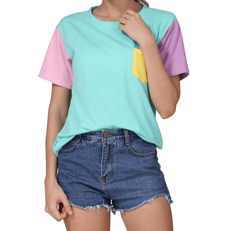 Tshirt T Shirt progettista delle donne Estate Donne Harajuku Style Camicie Casual Spell cotone Tops Patchwork Kpop maglietta Drop Shipping