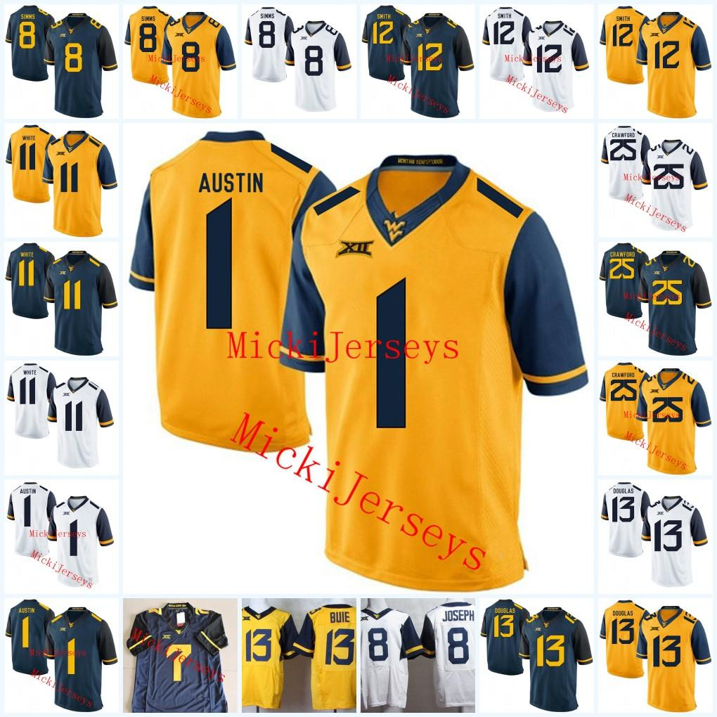 a09abc8e8 2019 NCAA West Virginia Mountaineers Tavon Austin Jersey Kevin White Geno  Smith Stedman Bailey Karl Joseph Justin Crawford Rasul Douglas Jersey From  Xt23518 ...