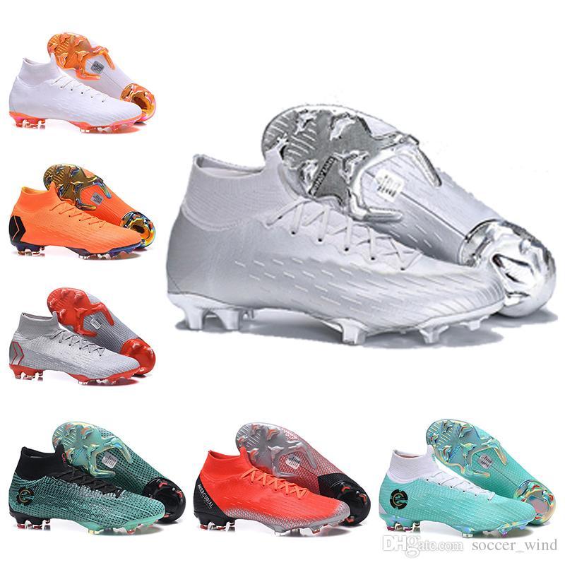 brand new b5aea c67fd Acheter 2019 Bottes De Football Pour Enfants Hautes CR7 Mercurial Superfly  VI Chaussures De Football FG Elite Elite Hommes Femmes Superfly Neymar ACC  ...