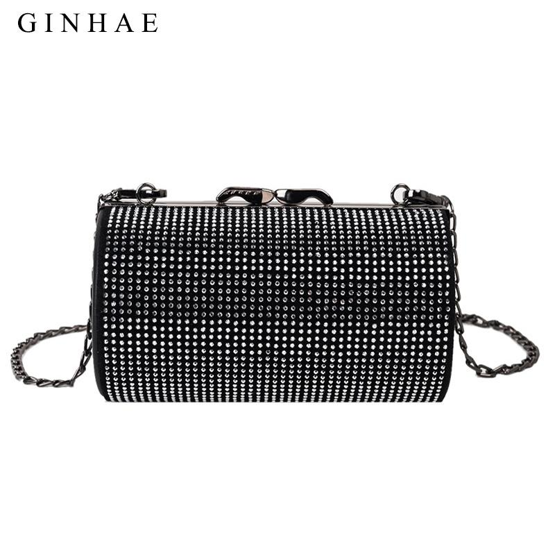 Luxury Full Diamonds Women Roll Ballel Bag Brand Designer Female Pu Leather Shoulder Bags Ladies Clutch Sac Chain Crossbody Bags