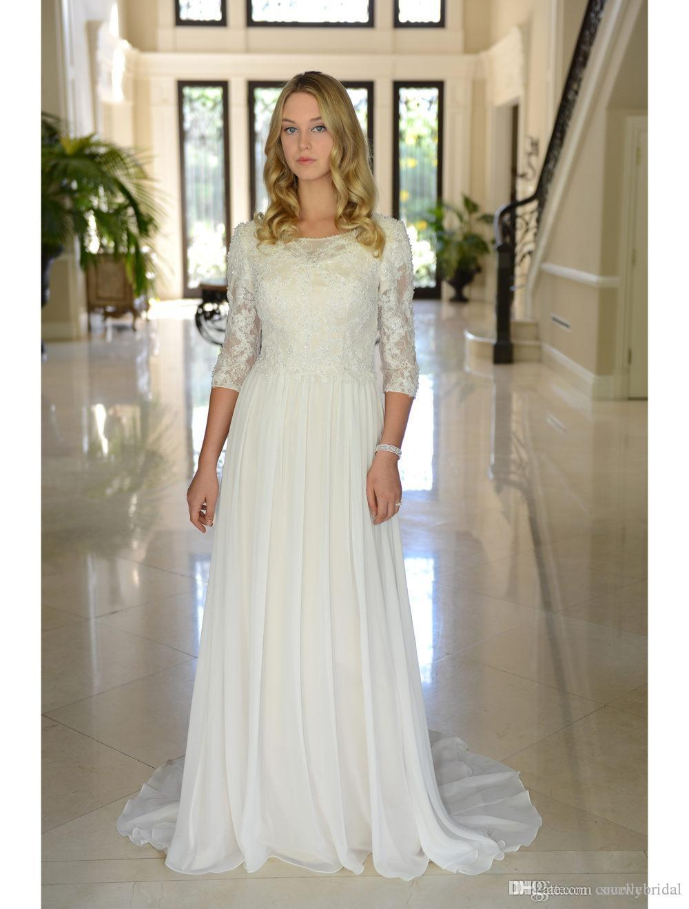 61cf6485176de Chiffon Boho Modest Wedding Dresses With 3/4 Sleeves Beaded Buttons Lace  Country Western Reception Bridal Gowns online A-line Custom Made