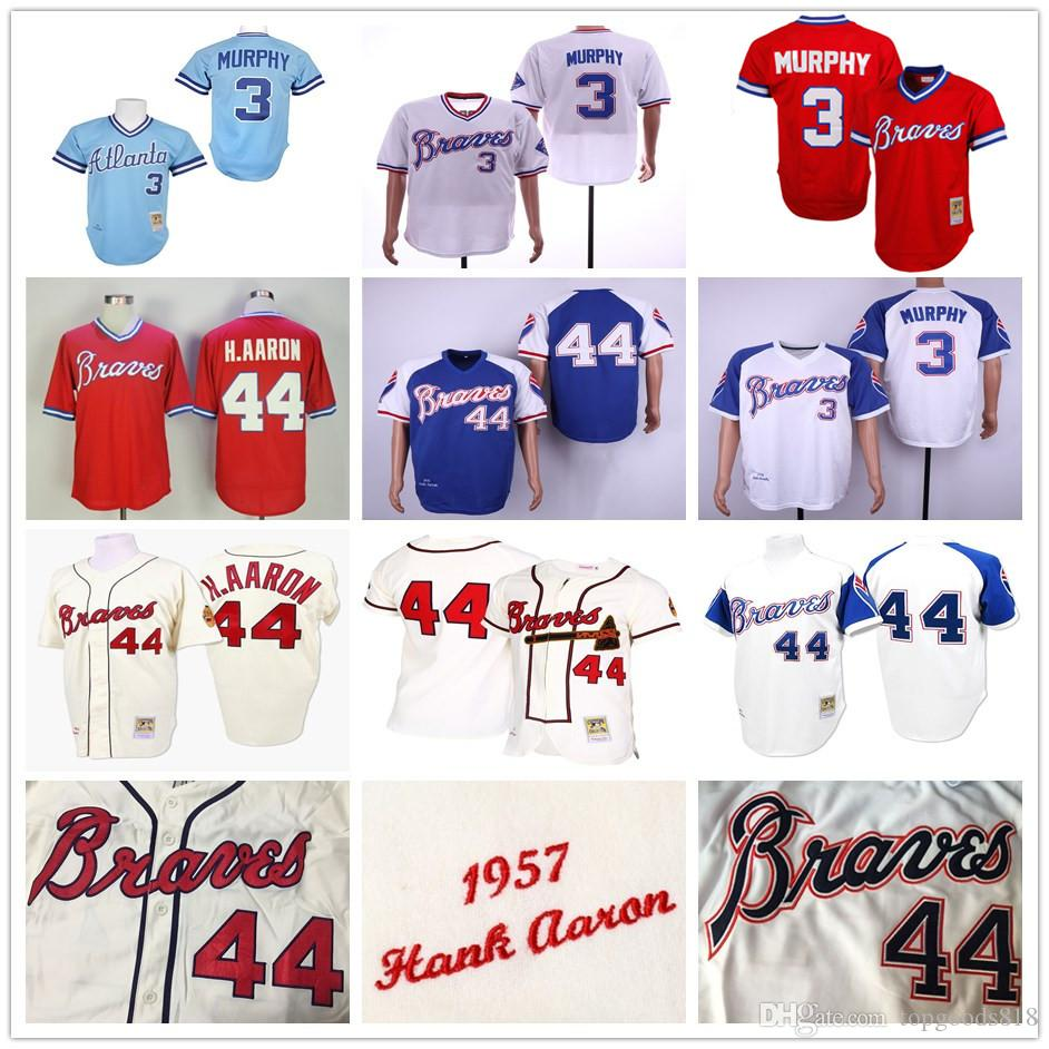 quality design 4105d 4ae74 Vintage Atlanta 44 Hank Aaron H.Aaron Braves 3 Dale Murphy 1957 1963 1973  1974 1982 s Baseball Jerseys