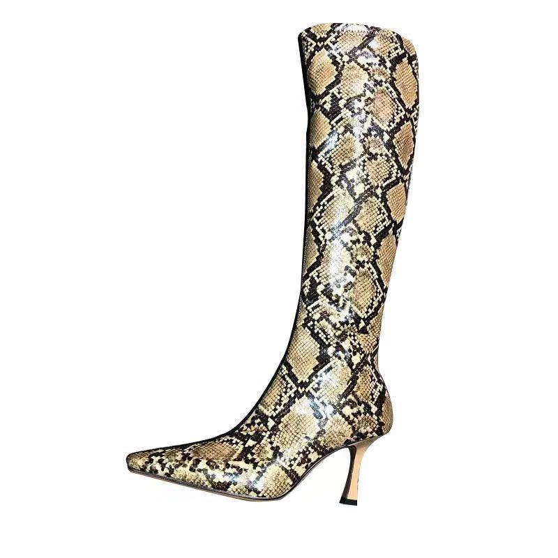 6e78b8f722c3a Snakeskin Print Leather Patchwork Knee High Woman Knight Boots High Heel  Pointy Toe Zip Elastic Boots Stretch Fabric Women Shoes