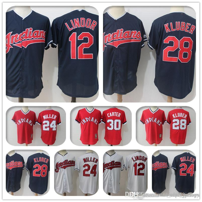 quality design d058e 3bdd9 30 Joe Carter 10 Edwin Encarnacion Cleveland 12 Francisco Lindor Indians  Jersey 28 Corey Kluber a2