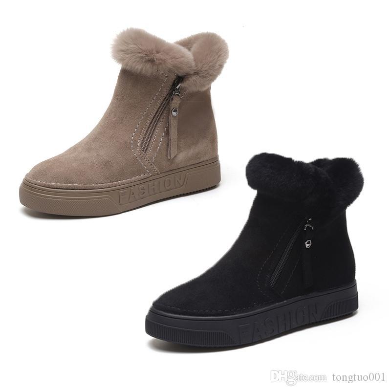 0208f751 Compre Invierno De Las Mujeres Botines De Mujer Cremallera Flock Plataforma  Bota De Nieve Señoras Zapatillas De Deporte De Felpa Zapatos Planos  Ocasionales ...