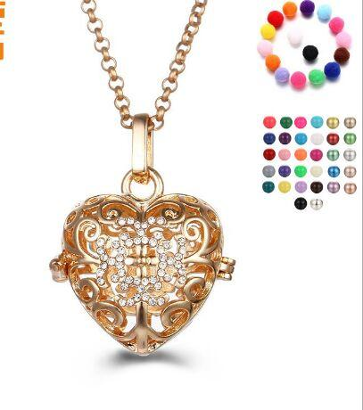 Cubic Zircon Crystal Cage Pendant Necklaces Gold Hollow Heart Pregnancy Ball Pendants Baby Chime Diffuser Lockets Necklace