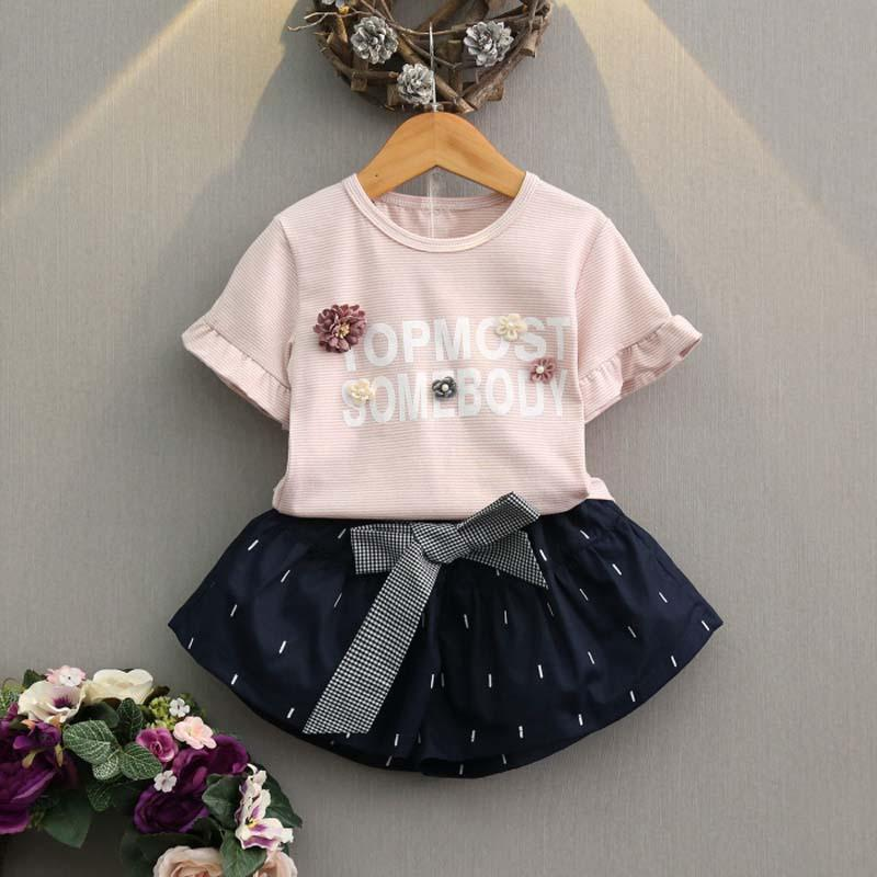 cbc95a53e48eb New Summer 2019 floral Girls Outfits Fashion kids Dress Suits 2pcs set T  shirt +shorts Children Outfit Girls Clothing Child Clothes A1537