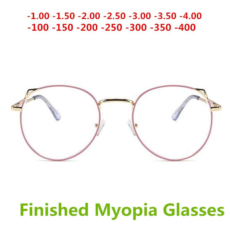 b6287c2434c Lovely Cat Ears Pink Color Eyes Finished Myopia Glasses Sexy Women ...