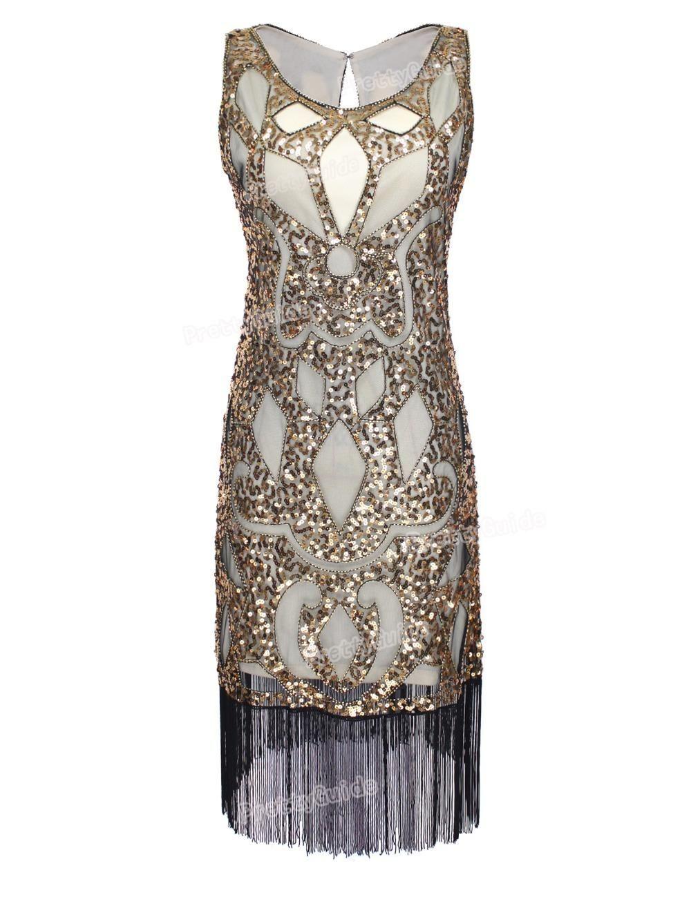 a16a20a09 Compre PrettyGuide Mujeres 1920 s Lentejuelas Art Deco Hollow Paisley Tribu Cóctel  Inspirado Flapper Dress Gran Vestido Gatsby A  156.52 Del Kaway