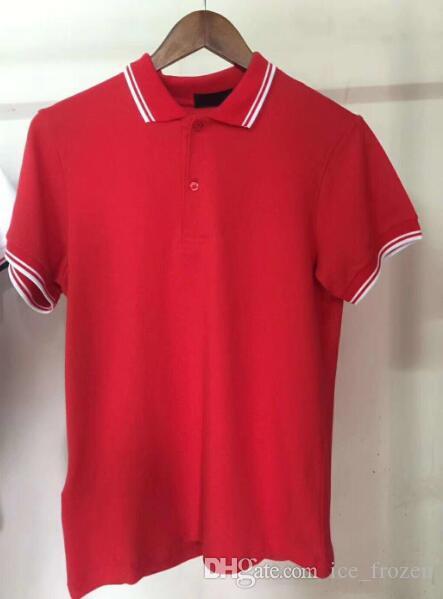 Manica corta Estate Uomo T-shirt classica in cotone 100% Turn-down Collar London Fashion Casual Polo traspirante camice Solid Polo Tees Verde Rosso