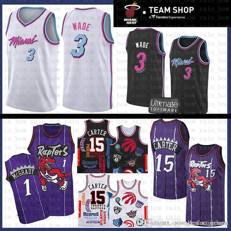 new concept dfad7 6db69 Miami Jersey Heat Dwyane 3 Wade SUP Vince 15 Carter Tracy 1 McGrady  Basketball Jerseys Mesh Retro