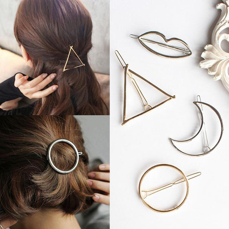 ba02c9e8953ed Fashion Women Hairpins Hair Accessories New Simple Triangle Moon Round  Geometric Hair Clips Gold Bobby Pins Alloy Clips Barrette Women Hair  Accessories ...