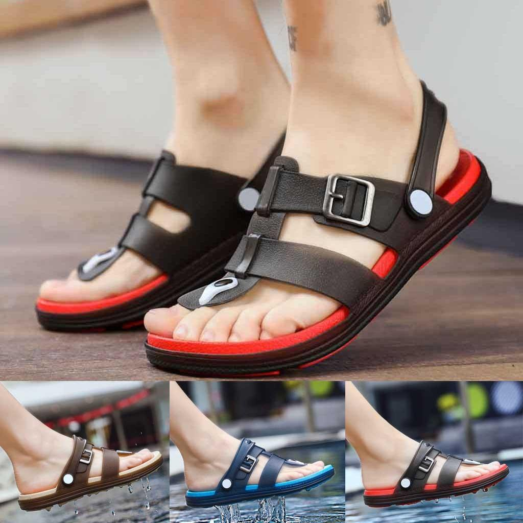 2c2a6aa95 2019 Men S Rubber Sandals Spring Summer Shoes Non Slip Clip Toes Sandal Flat  Heel Beach Sandal Outdoor Fashion Loafers Slides Womens Loafers Bamboo Shoes  ...