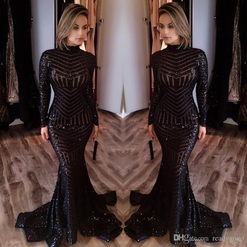 Sparkly Sequins Mermaid Prom Formal Dresses 2019 High Neck Black Full Back Trumpet Sweep Train Occasion Evening Wear Gowns