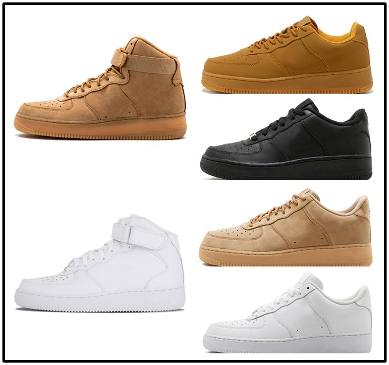 Casual shoes White One 1 Dunk Men Women Casual Shoes Sports Skateboarding Ones Running High Low Cut Wheat Brown Trainers Sneakers 36-45 kj06