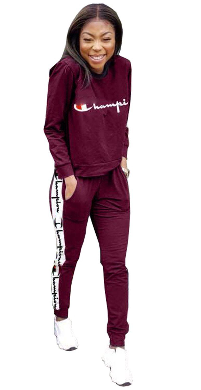 13e4adea60c7 Hot Women Champions Letter Print Tracksuit Long Sleeve T Shirt Top + Loose  Pants Leggings 2PCS Set hoodie Outfits Sportswear Suit Sweatshirt