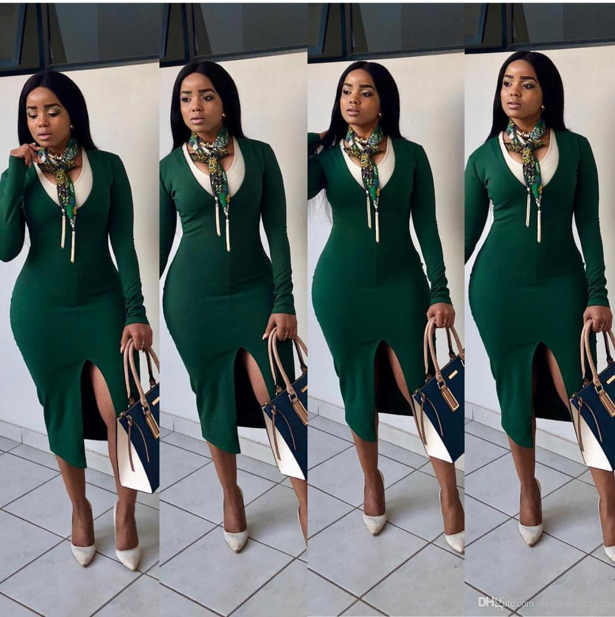f5ac23d2ecce Fashion Women Long Sleeve Bodycon Dress Elegant Office Ladies Patchwork O  Neck Front Split Out Midi Dresses Buy Party Dress Summer Dresses Maxi From  ...