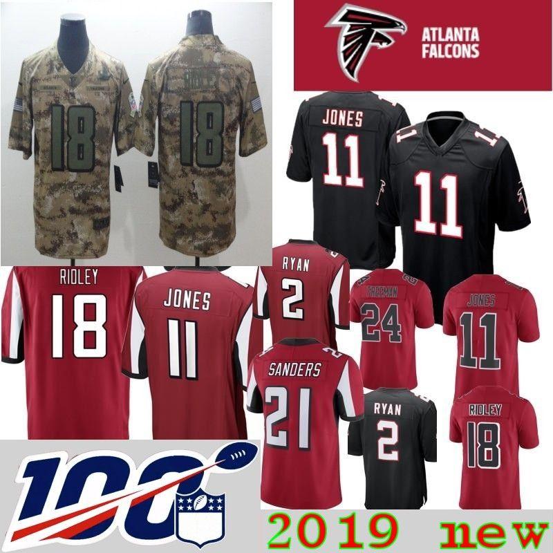 de27ea4b 100th patch Men Atlanta Jerseys Ridley 11 Julio Jones 2 Matt Ryan 24  Devonta Freeman 21 Deion Sanders Falcons Home Red Black stitched Jersey