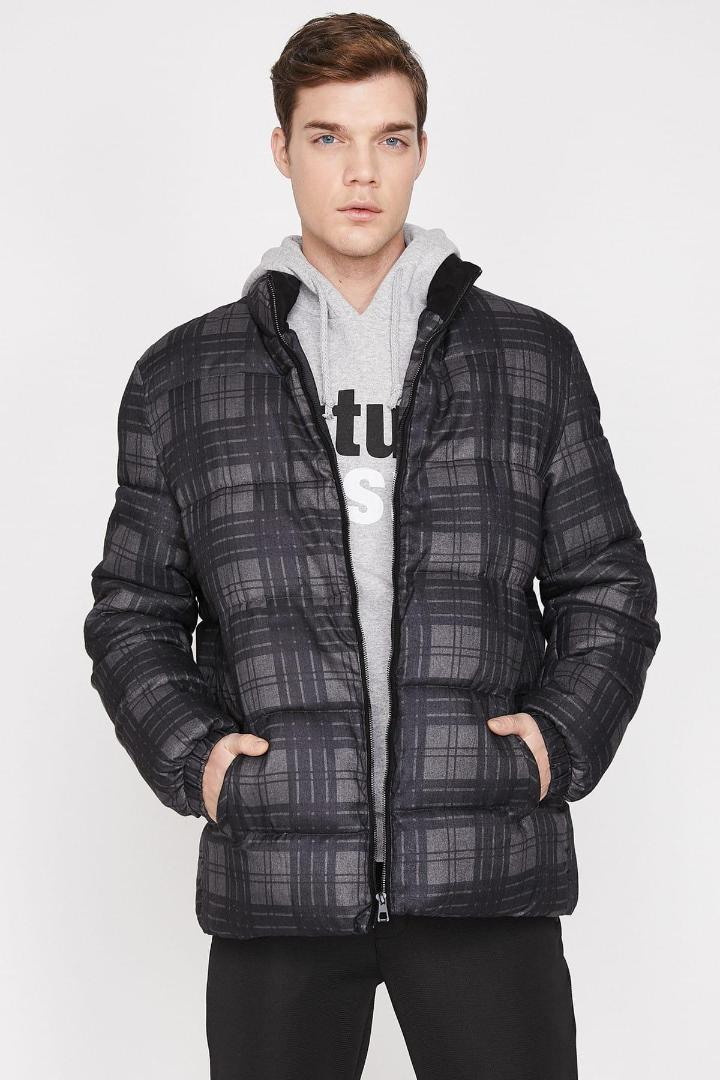 Koton Male Anthracite Plaid Coat 9KAM21077NW