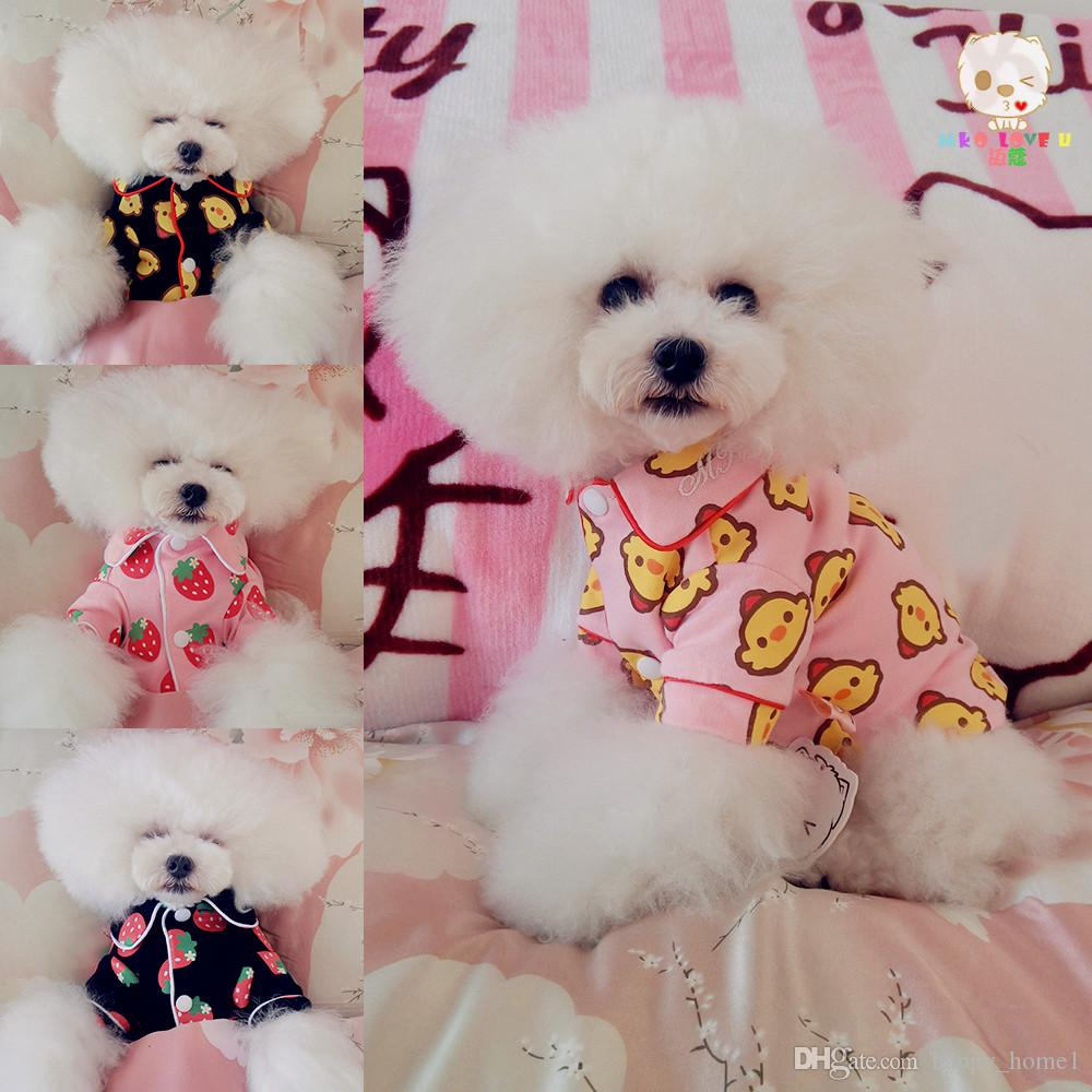 Love Pet Dog Cat Jumpsuit Pajamas Pink Soft Feeling Shirt Button Sleepwear Dog four seasons Clothes Puppy Apparel