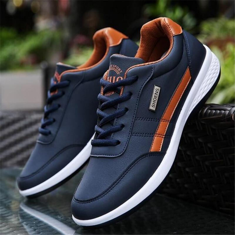 2019 Fashion Autumn Mens Leather Casual Shoes Snake Grain High Top Loafers Shoe For Men Male Slip On Skate Shoes 39-44 Spare No Cost At Any Cost Men's Casual Shoes