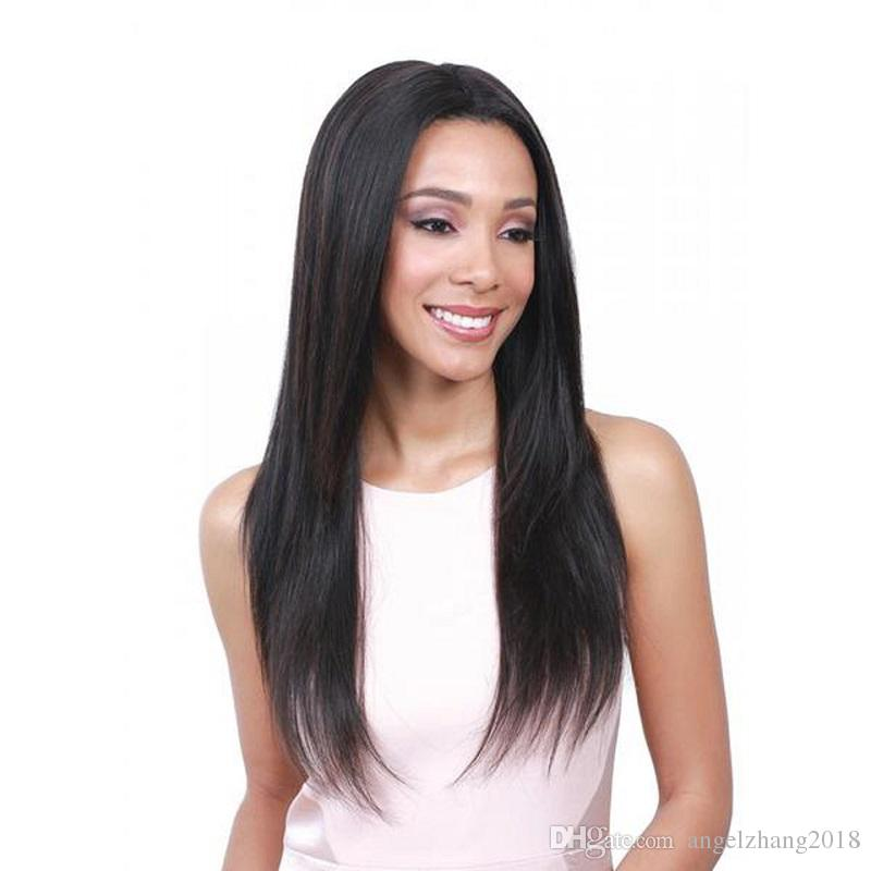 Black Long Silky Straight Wig Lady Hair Synthetic Hair Fiber Long Straight Hair High Temperature Fiber Medium Style For Daily Wear