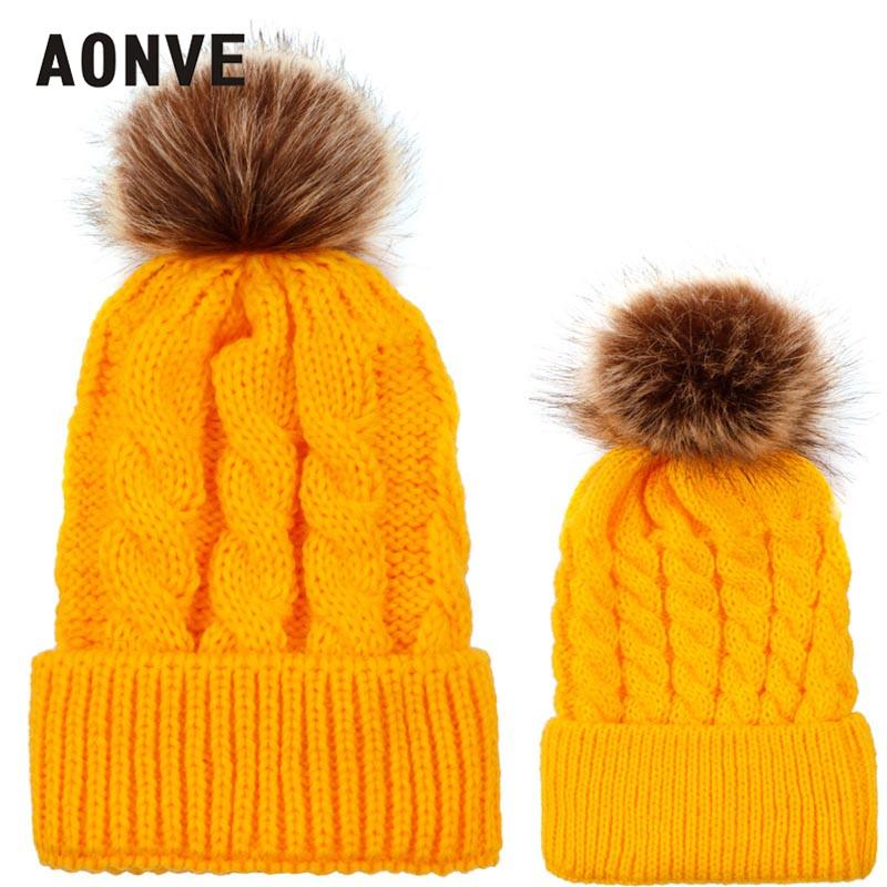 39f173e3450 2019 Aonve 2018 Winter Beanie For Adult And Children Fur Pompom Cute Bonnet  Kintted Winter Warm Hat Baby Kids Plain Skullcap From Fwuyun