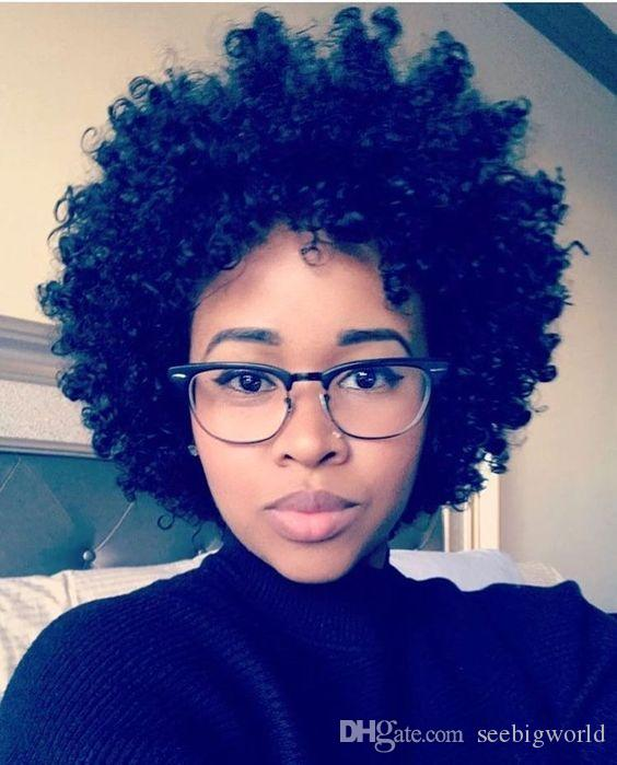Toop quality short kinky curly wigs African Ameri hairstyle Brazilian Hair simulation human hair curly wig