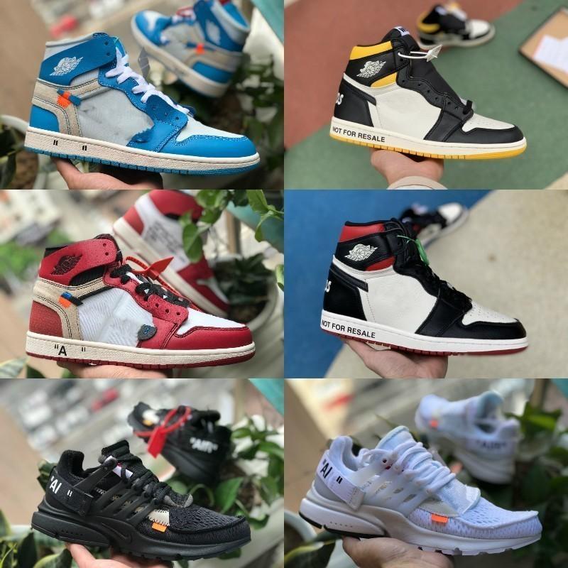 new concept acd85 c45d0 Acheter 2019 Nike Air Jordan 1 Off White Shoes High Jordans OG Basketball  Chaussures Pas Cher Royal Banned Bred Noir Blanc Rétro Toe Hommes Femmes  Formateur ...