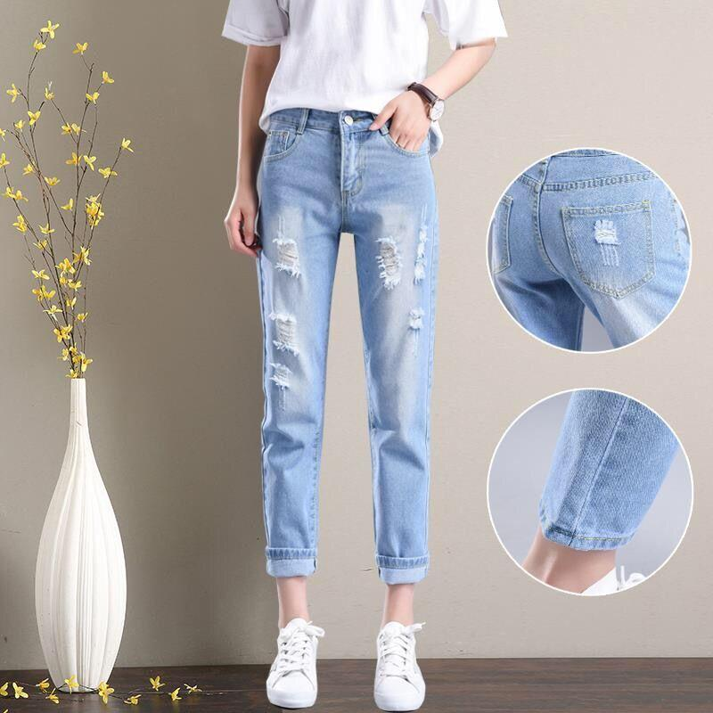 ed6bd813df24 2019 2019 Women Summer Pants Casual Trousers For Ladies Blue Ripped Mid  Waist Drawstring Skinny Denim Calf Length Jeans Pencil Pants From Hoto, ...