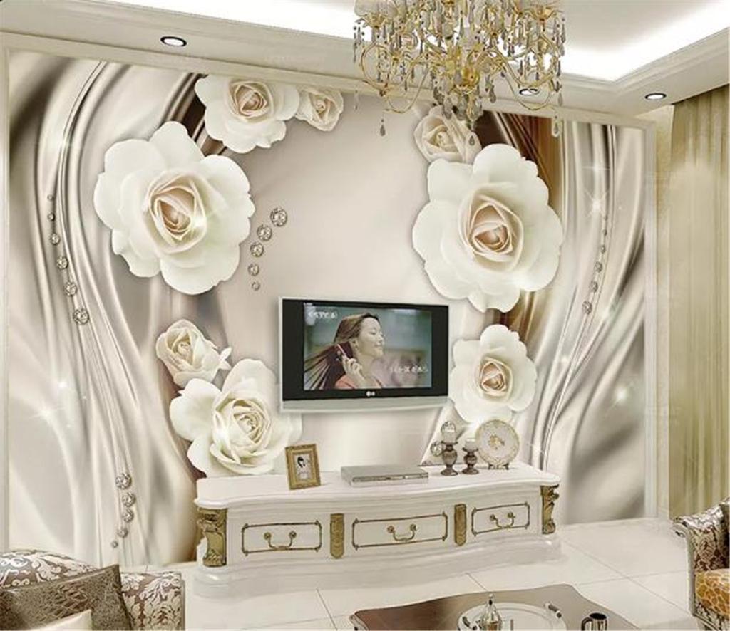 Acheter Téléphone 3d Papier Peint Luxe Or 3d Rose Soie Salon Chambre
