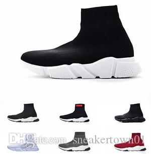 Designer mens women Speed Trainer Casual Sock Shoes black white blue glitter red Flat mens Trainers Runner sneakers size 36-45