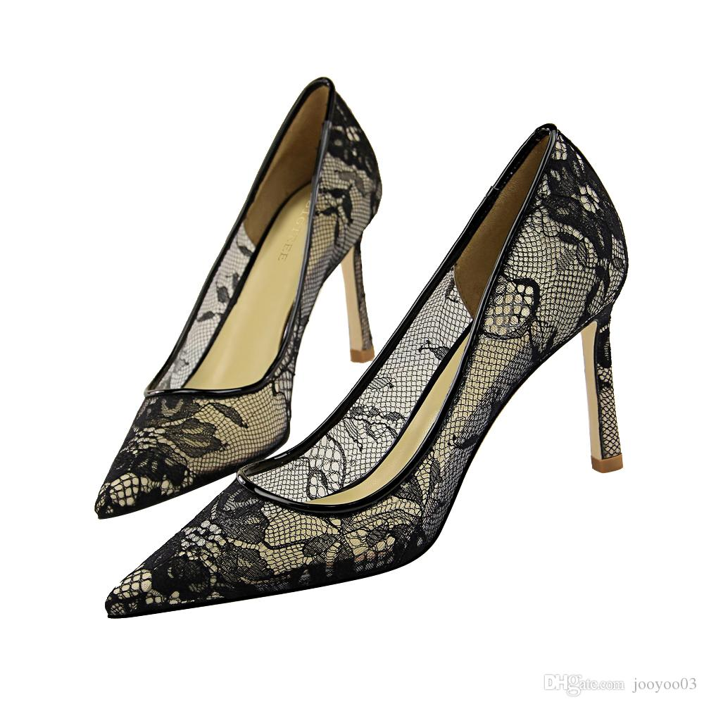 High-heeled Sandals With Thin Heel High Heel Shallow Mouth Pointed Mesh Lace Cross Ribbon And Hollow Sandals Women Shoes High Heels Shoes