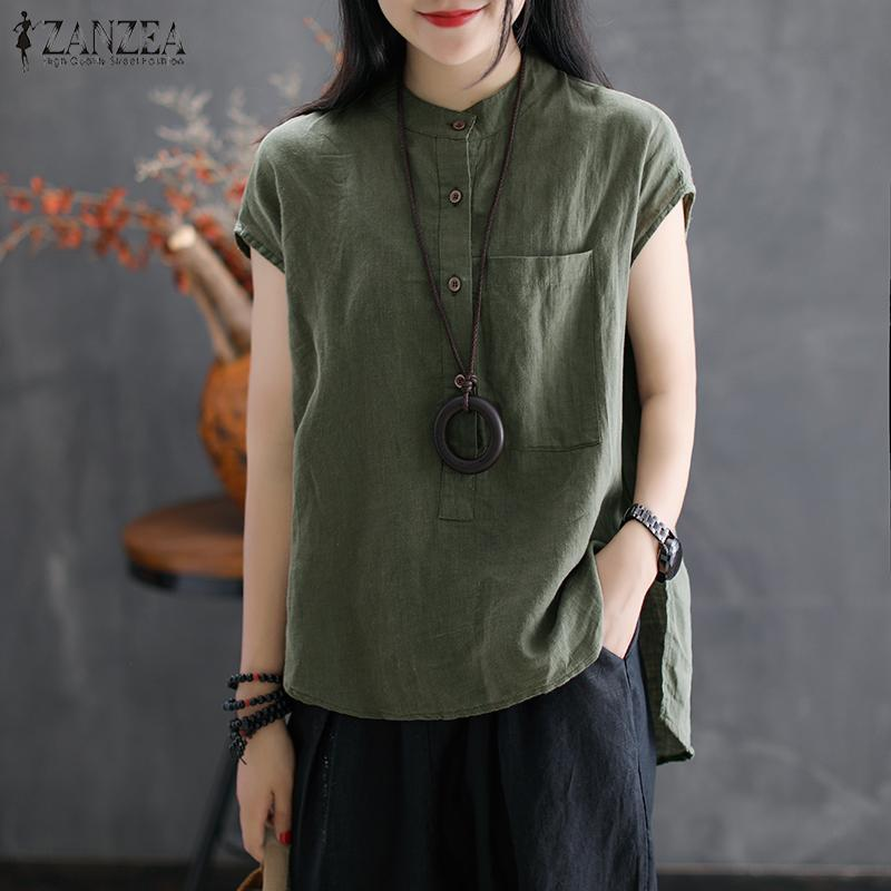 a4060ecd7b1 2018 ZANZEA Women Summer Casual Short Sleeve Blouse Work OL Solid ...