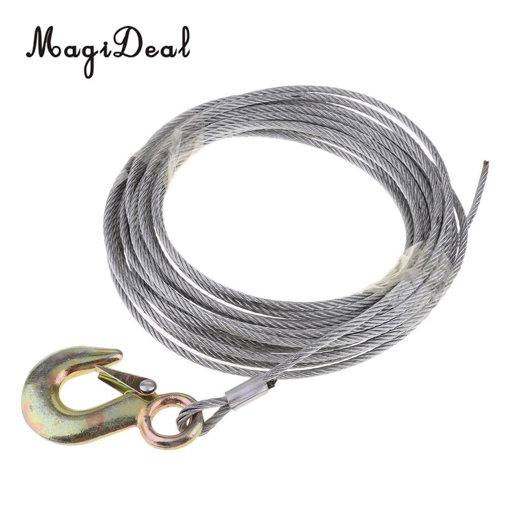 MagiDeal Durable Marine Boat Trailer Wire Rope Winch Cable Galvanized with  Heavy Duty Hook 5mm x 10m Canoe Kayak Boat ATV Jet