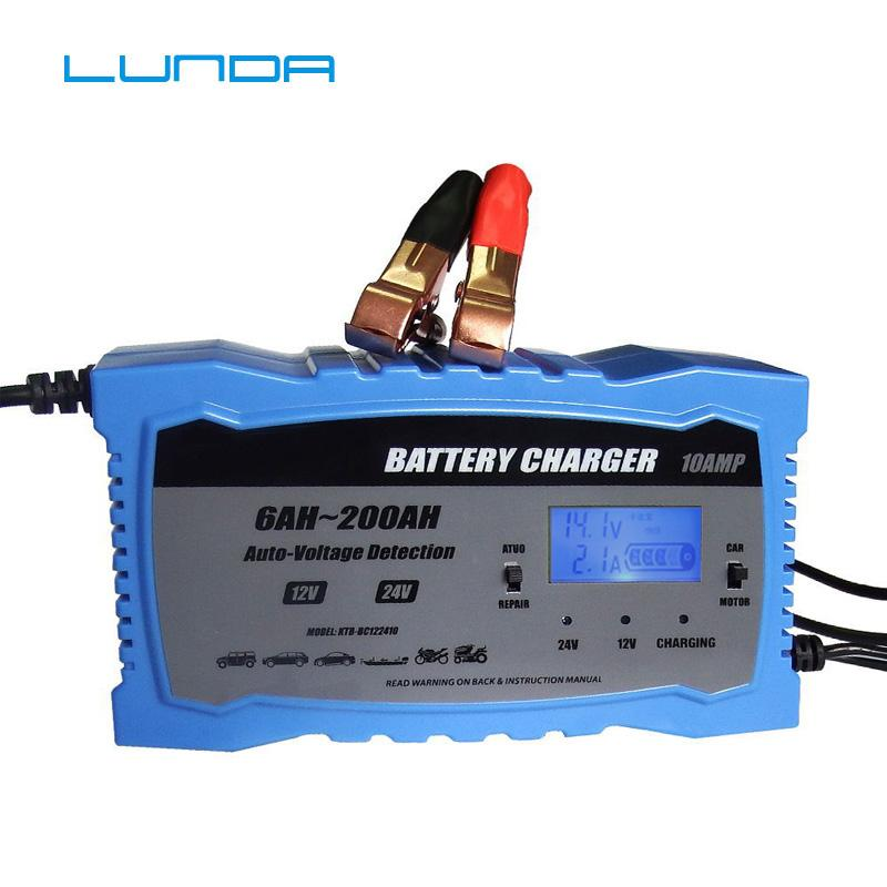 12V 24V LCD Smart Fast Car Battery Charger for Auto Motorcycle Lead-Acid AGM GEL Batteries Intelligent Charging 12 Volt 10 AMP