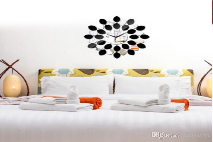acrylic european simple diy fashion wall clock mirror round wall