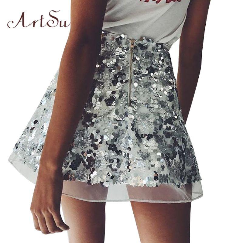 9c830e0b3e8d5 Gold Sequin Mesh Mini Skirts Womens Christmas Chic High Waist Skirt Zipper  Casual Short Party Beach Black Skirt ASSK20005
