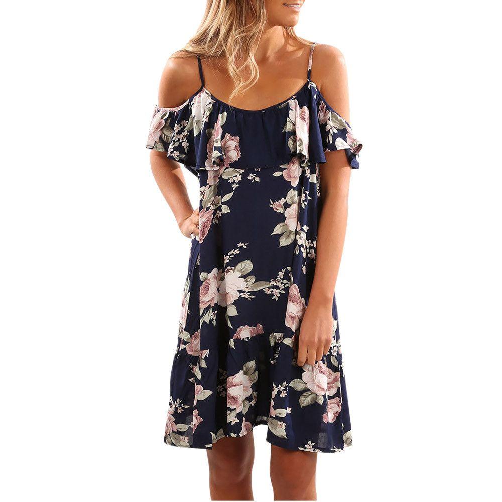 38f08ebb9b9a4 2019 Women Summer Floral Dress Fashion Cold Shoulder Dresses Ruffle Trim  Printed Knee Length Dress Designer Evening Dress Cocktail Prom Dresses From  ...