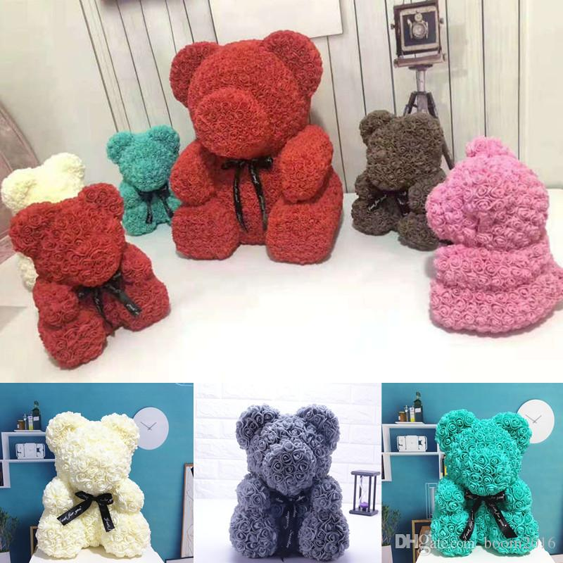 Drop Shipping 40cm Red Teddy Bear Rose Flower Artificial Christmas Gifts  For Women Valentine S Day Gift With Gift Box UK 2019 From Boom2016 48a32c27a