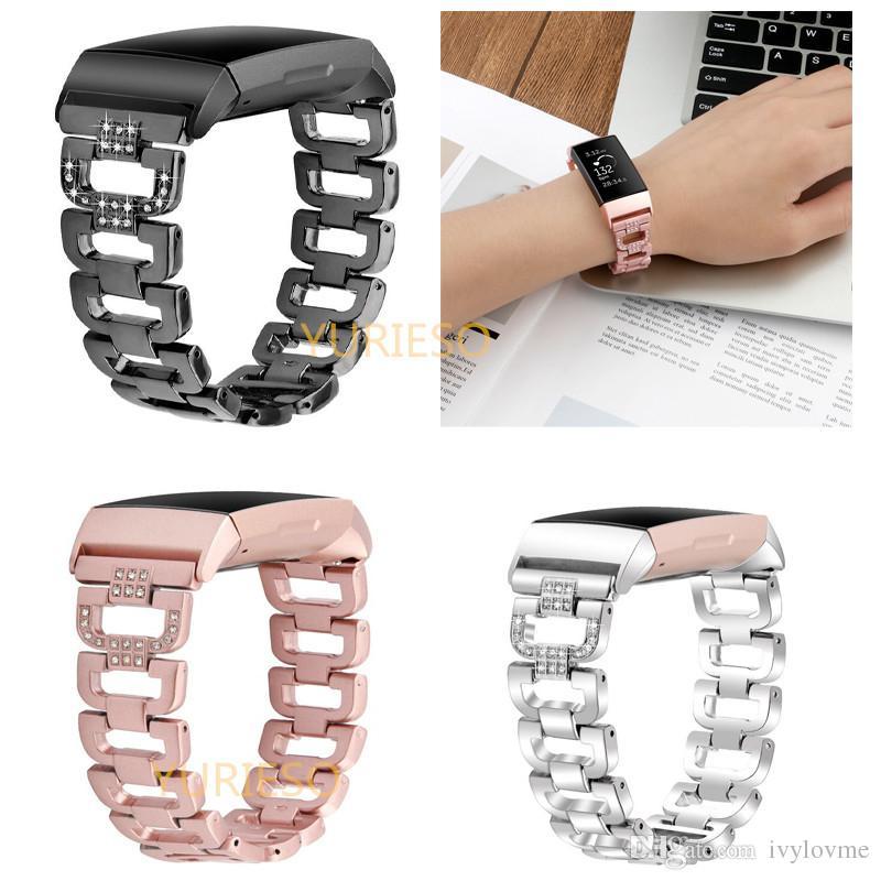 b806099ee5c7 Nuevo acero inoxidable Bling Crystal Metal Correa reloj banda pulsera  ajustable pulsera para Fitbit Charge 3 banda mujeres hombres
