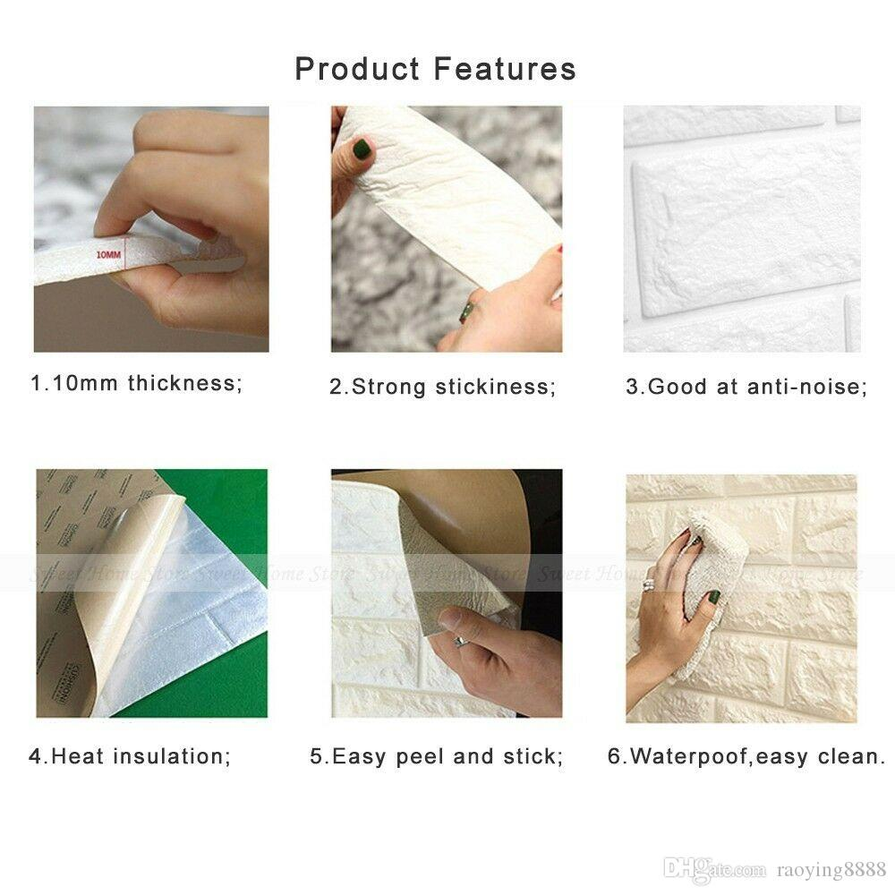 White 3D Bricks Self Adhesive Wall Sticker Soft Foam Panels Wallpaper Home Decor Art White Brick Pattern PE Foam Wall Stickers