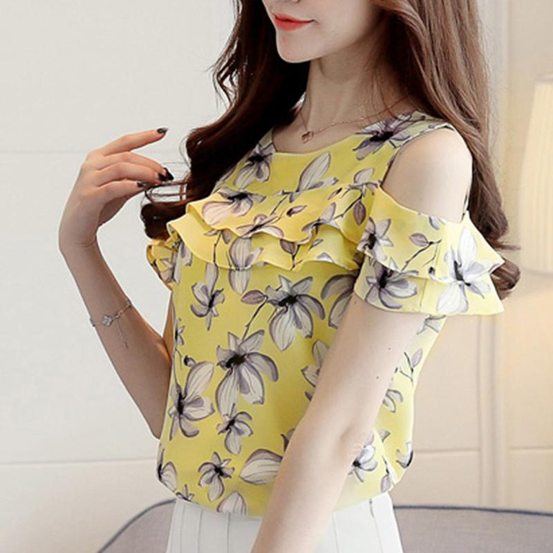 e5ac059c8593d 2019 Women Off Shoulder Blouses 2019 Summer Print Floral Short Sleeve  Chiffon Shirts Casual Ladies Clothing Female Blusas Women Tops From  Jincaile08
