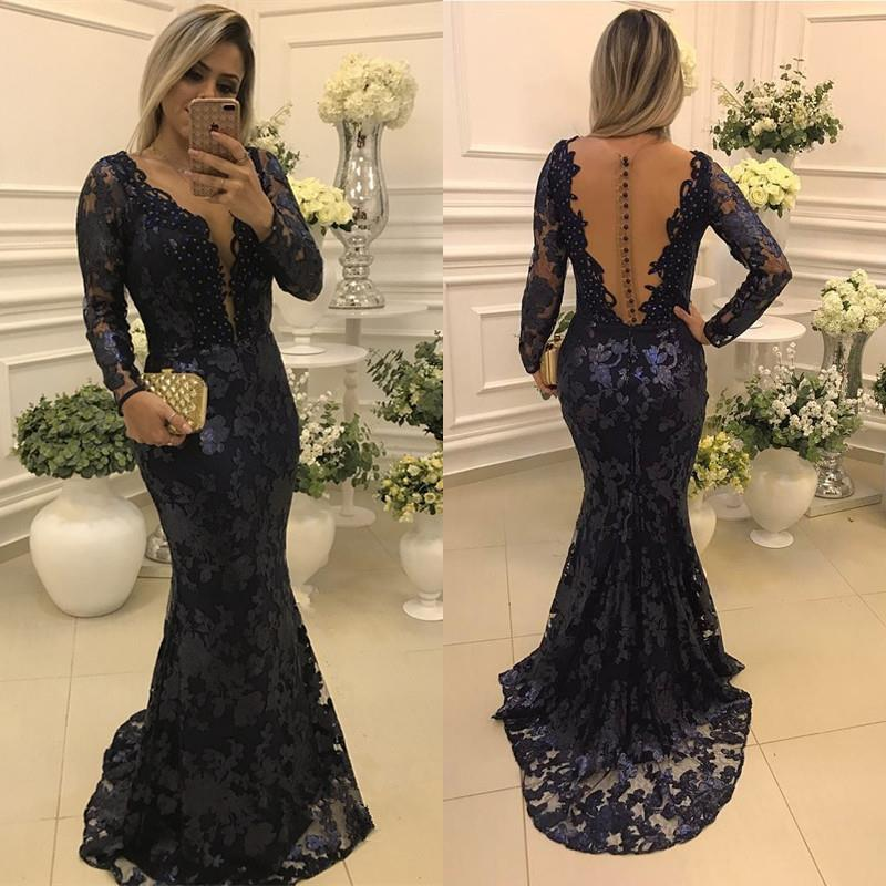 a21e734b60c2 Glamorous Dark Navy Lace Mermaid Prom Party Dresses 2018 Scoop Sweep Train  Long Sleeves Sheer Back Evening Mother Gowns Dress Prom Elegant Gowns From  ...