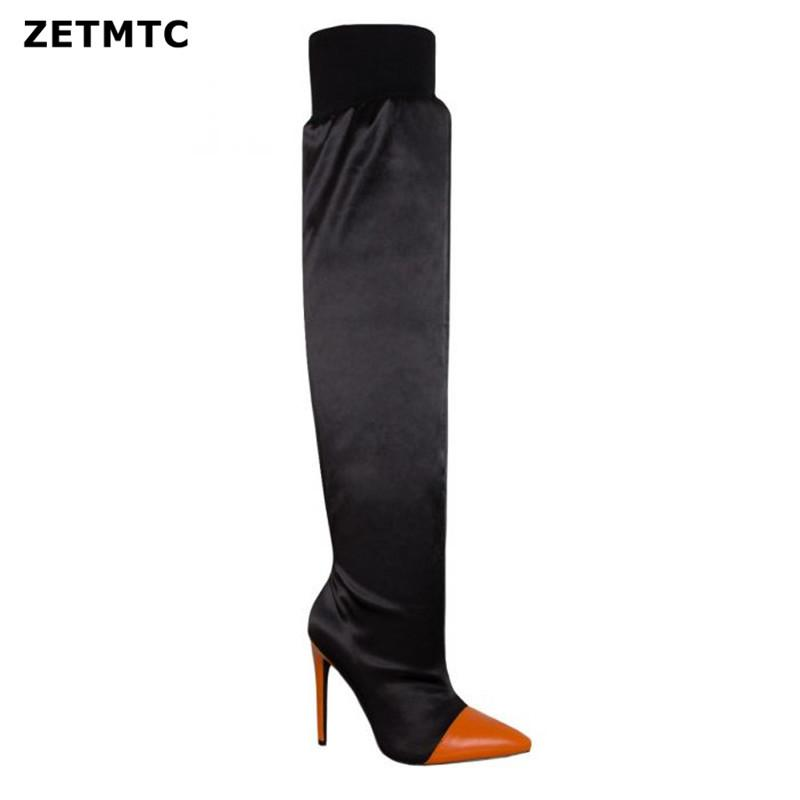 30c4f85b90e52a Top Faux Suede Women Thigh High Boots Stretch Slim Sexy Fashion Over The Knee  Boots Female Shoes High Heels Basic Pumps Suede Boots Men Boots From  Xiexiezi