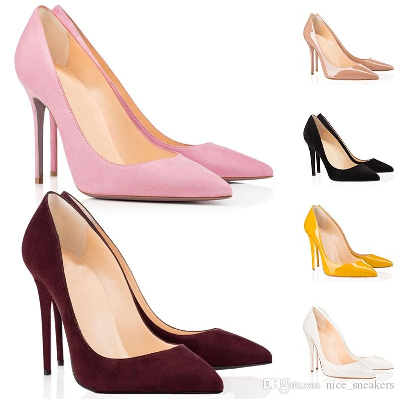 quality design 7e751 0e481 fashion designer heels womens red bottoms high heel 8cm 10cm 12cm Sexy Nude  black red Leather Pointed Toes Pumps Wedding Dress shoes