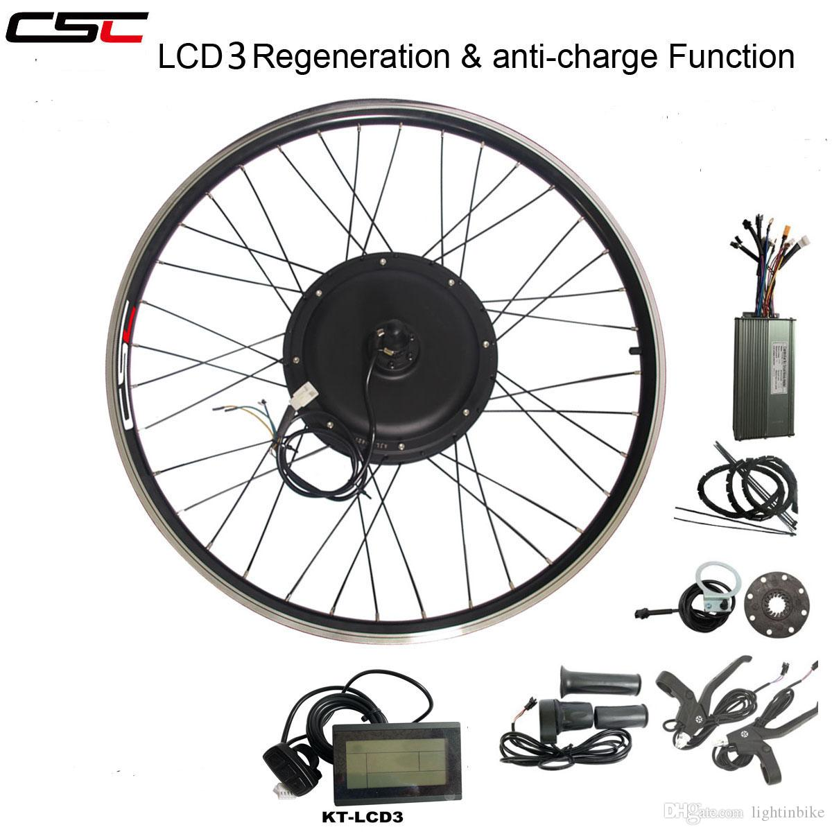 CSC eBIKE 48V 1000W Electric Bicycle Conversion Kit 20 24 26 27 5 28 29  inch 700C Front Rear Bike Wheel Hub Motor kit with LCD display