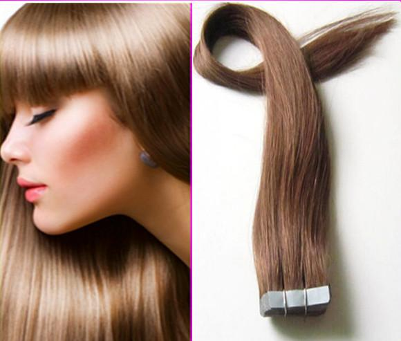 Free Shipping Cheap 22inch #6 Darkest Brown PU tape in Hair Extensions Remy 40 Pieces 100% Human Brazilian Straight